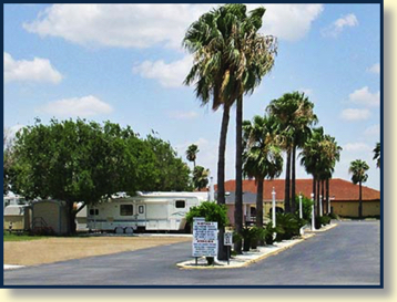 The palm-lined entrance to Canyon Lake RV Resort, the Rio Grande Valley campground of choice